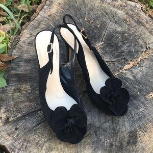 Black suede Kate Spade Gael peep-toe pumps SZ 8.5B